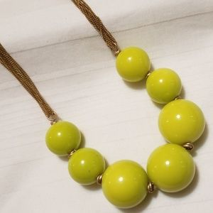 Kenneth Cole Large Green Beaded Chain Necklace